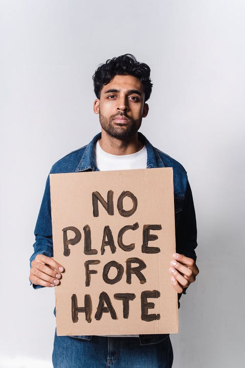 No Place For Hate Text On Cardboard