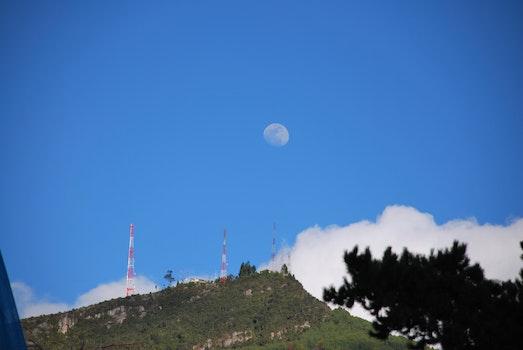 Free stock photo of mountain, moon, cloud, full moon