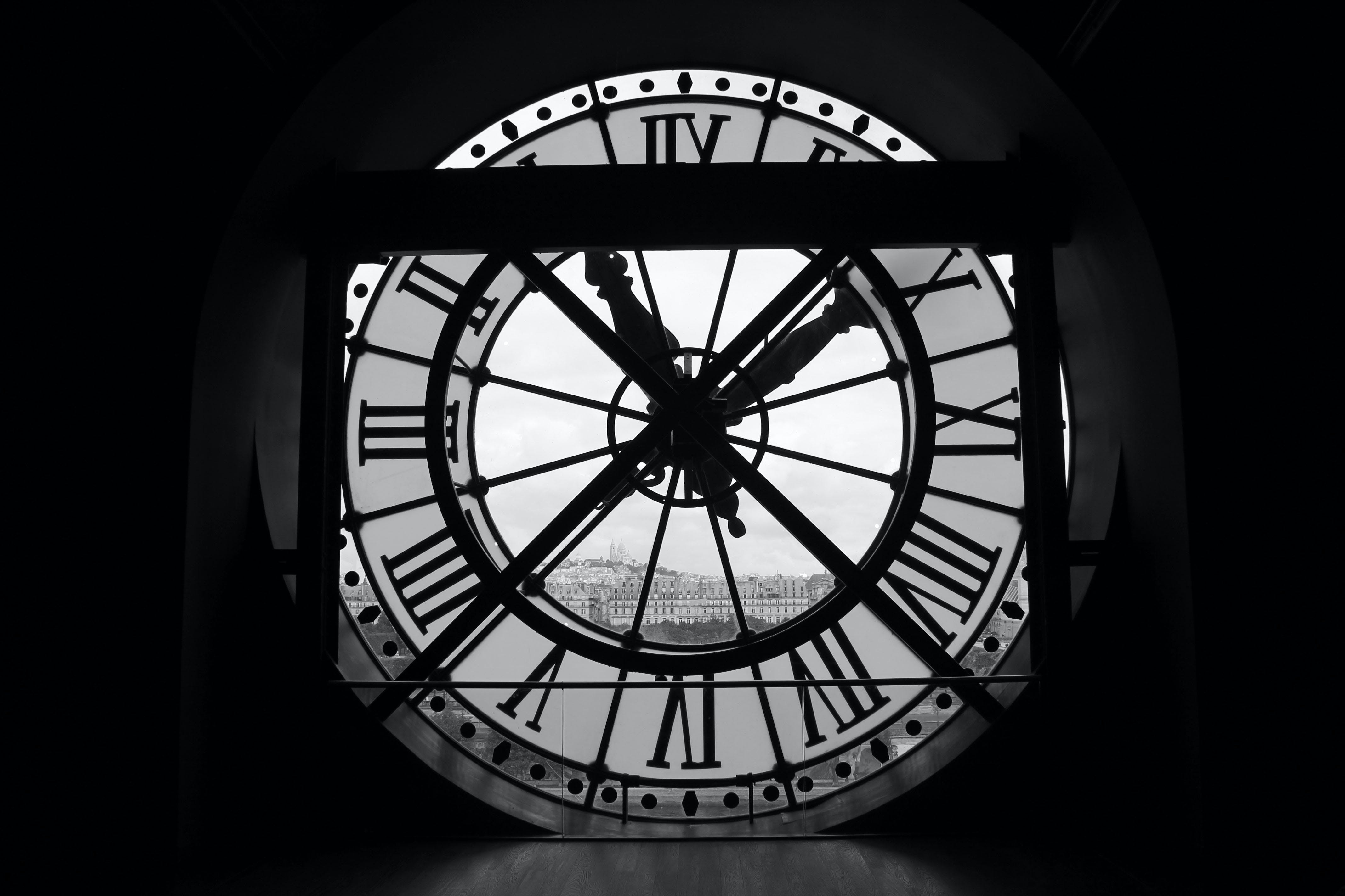 Free stock photo of black and white, clock tower, france, museum