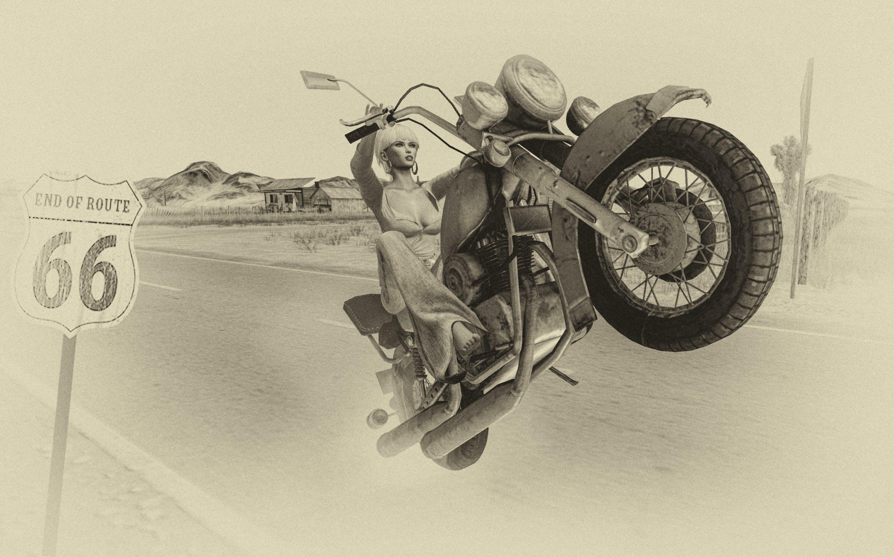 Free stock photo of biker, black and white, girl