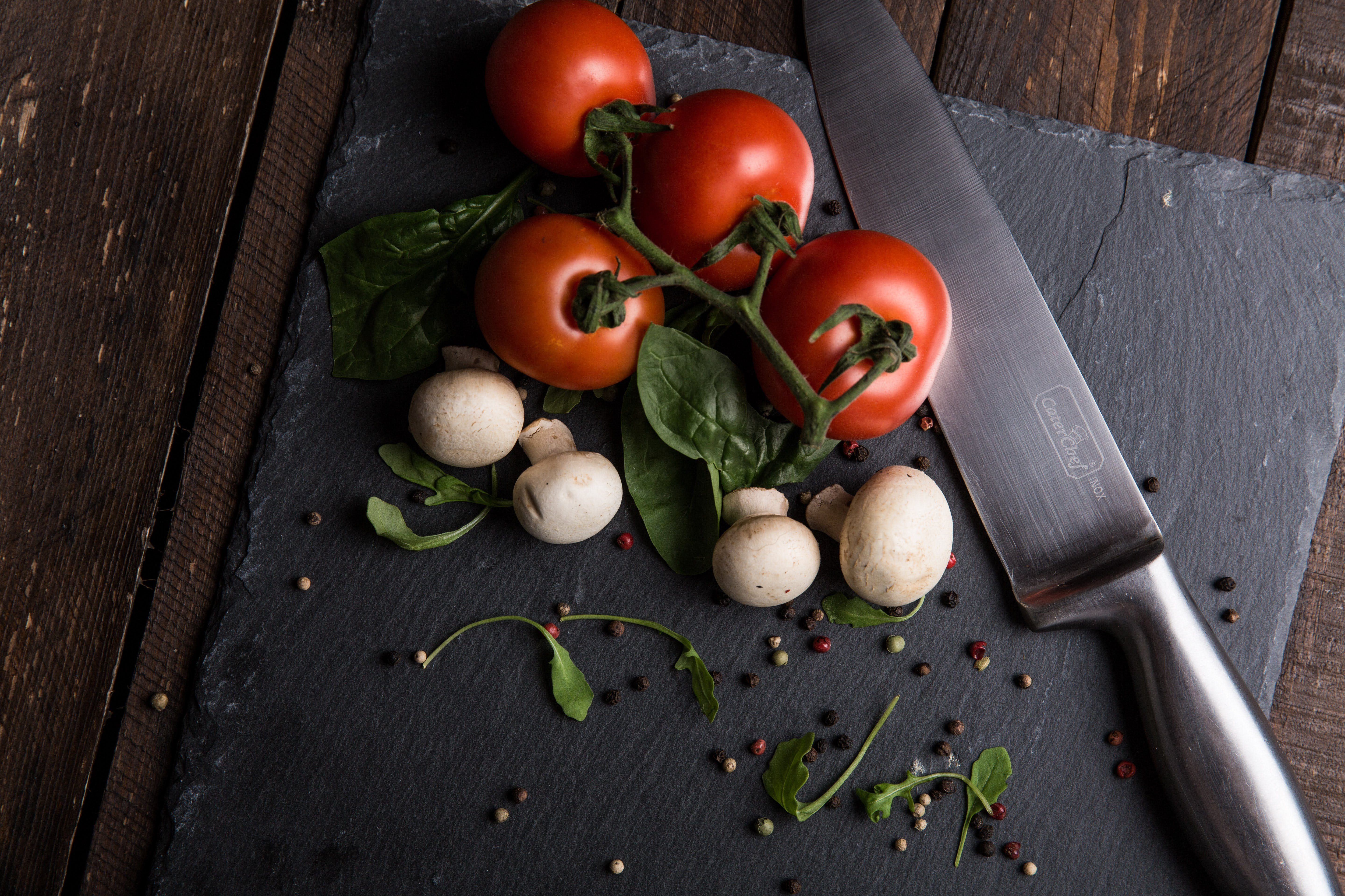 Free stock photo of tomatoes, spices, knife, ingredients