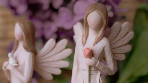 White Angel Figurine in White Dress