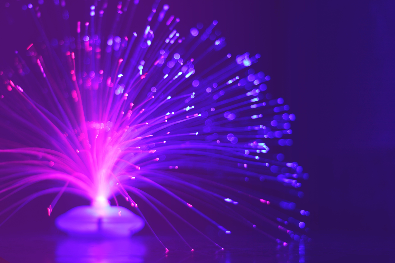 Lighted Purple Fiber Optic Lamp