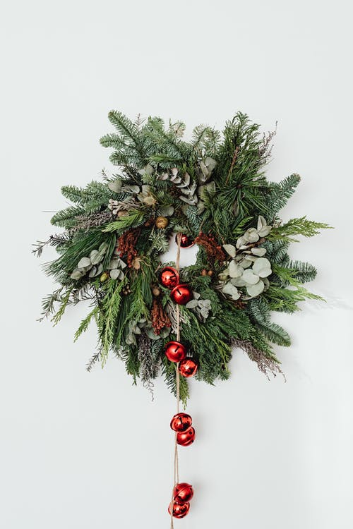 Green and Red Christmas Wreath