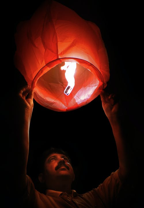 Woman Holding Red Paper Lantern