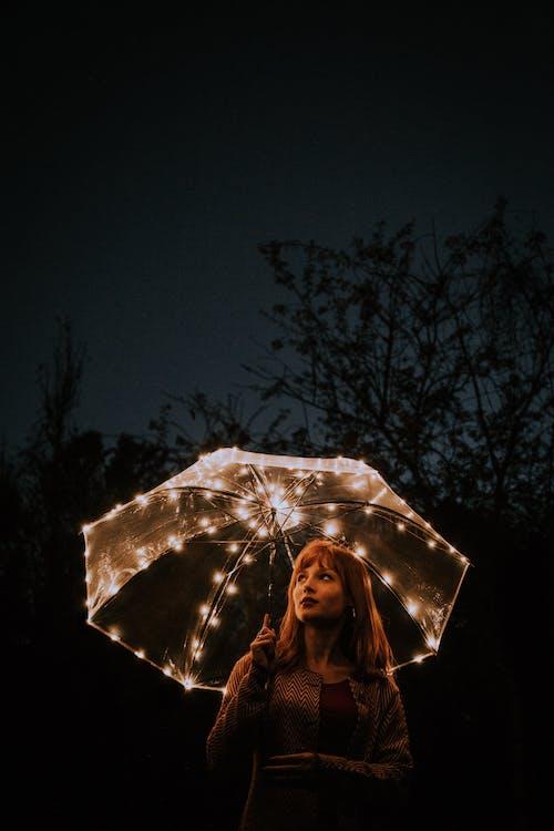 deštník, focení, holka