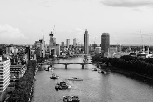 Birds Eye View of City Skyline in Grayscale Photo