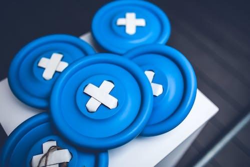 藍色, 鈕扣 的 免費圖庫相片