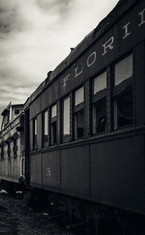 Free stock photo of black amp white, locomotive, miami, old train