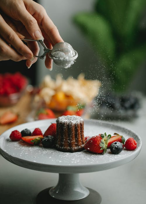 Chocolate Dessert on a Plate with Berries