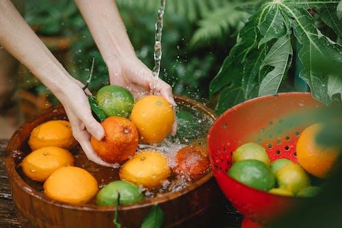 熱帯果樹園で新鮮な果物を洗う女性