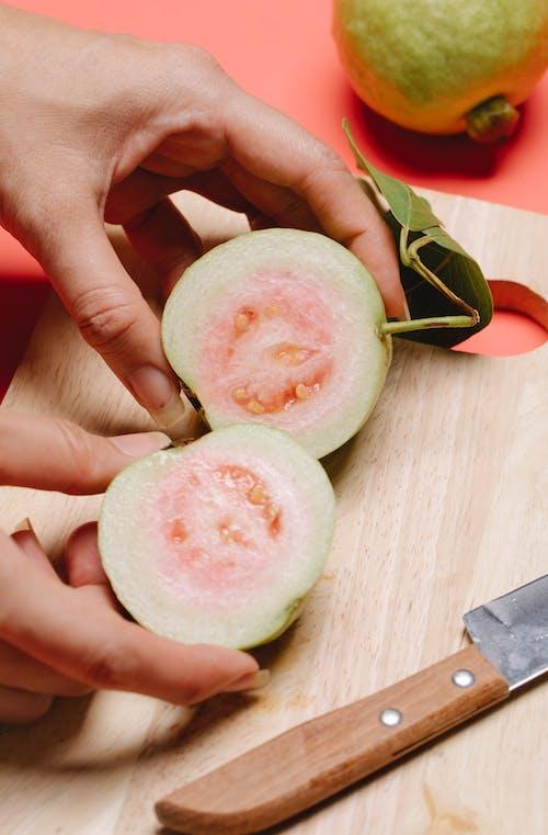 Guava fruit cut in half