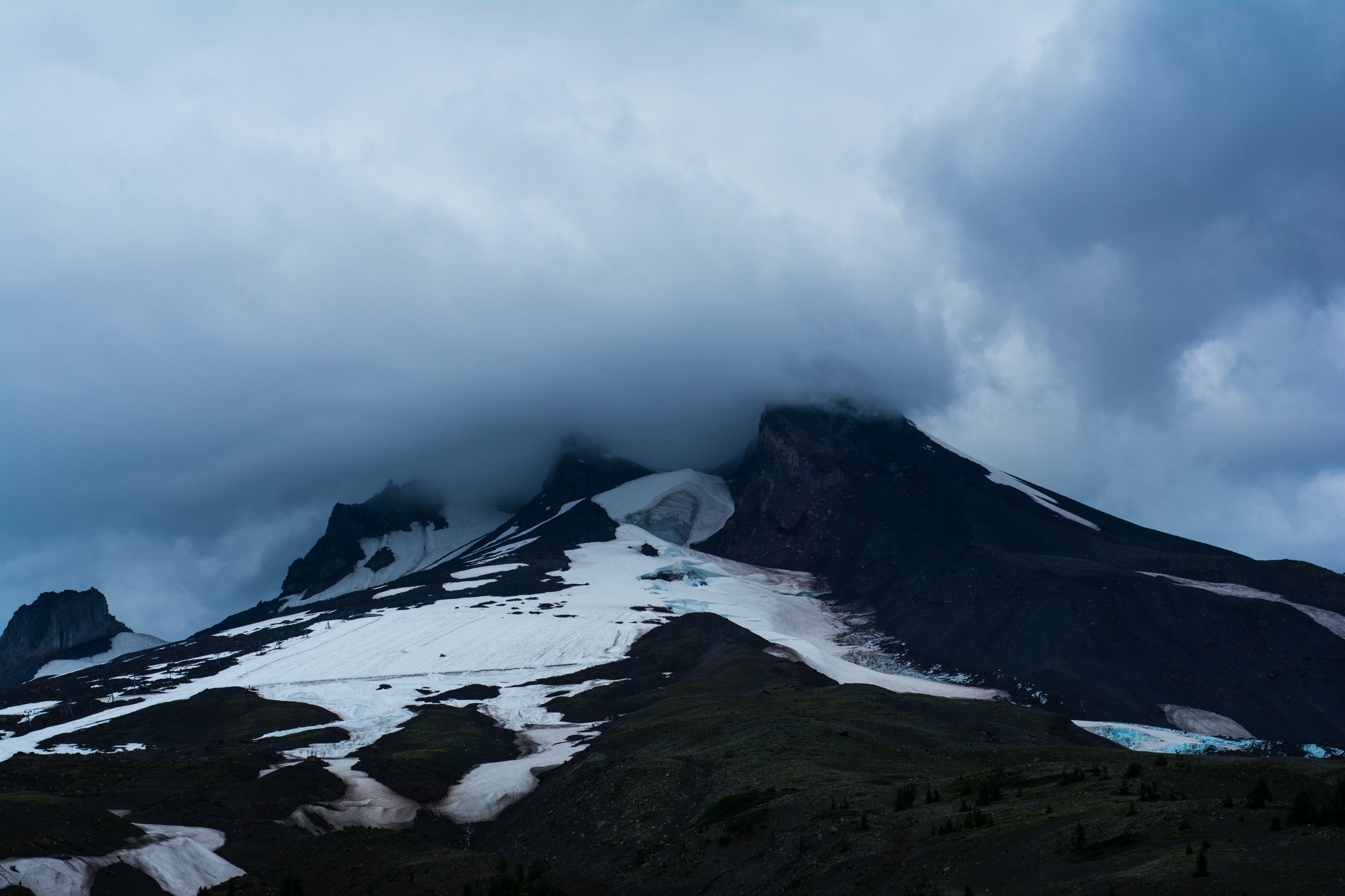 Free stock photo of cloudy mountain, mountain, mt. hood, snow capped mountain
