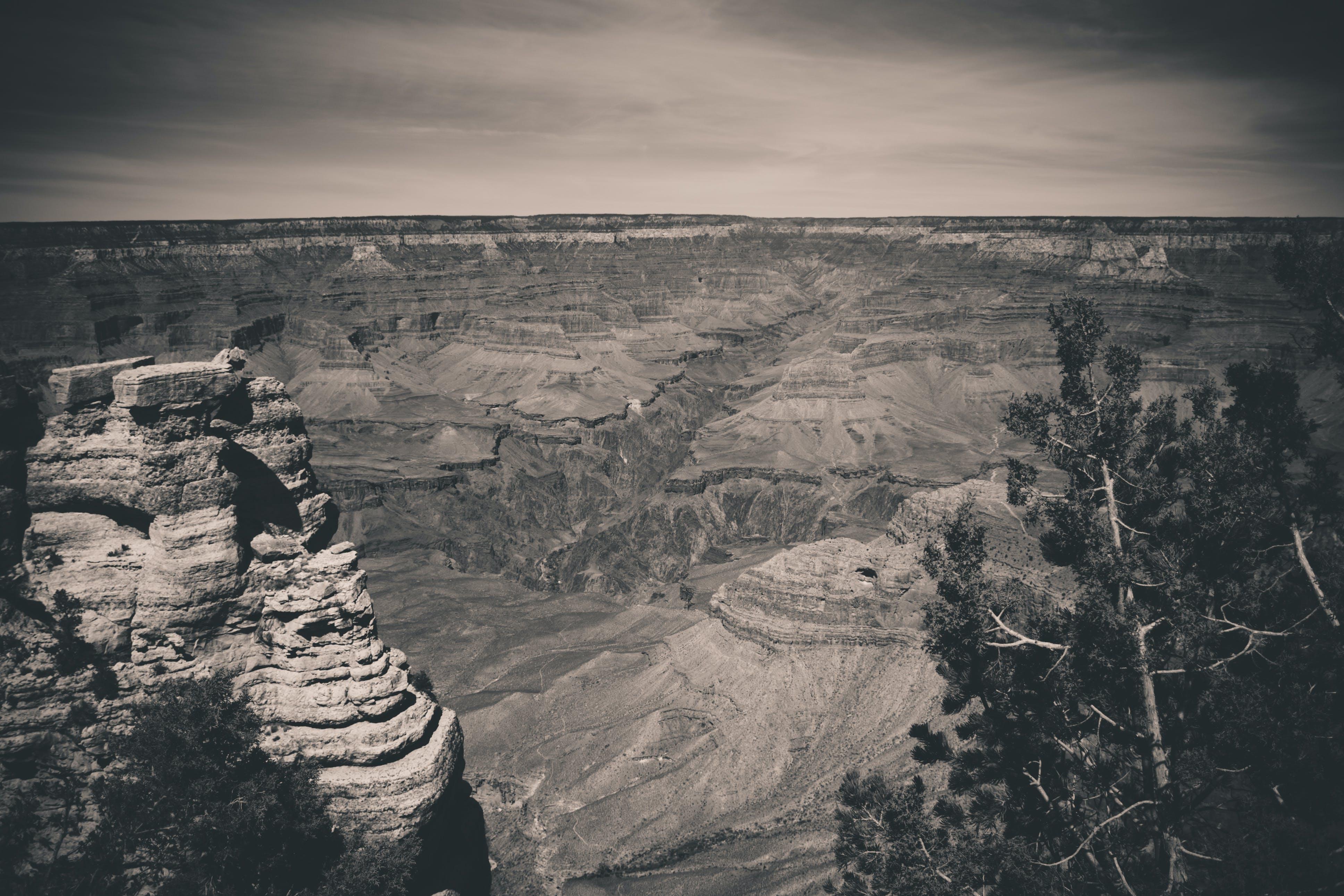 Free stock photo of black and white, canyon, grand canyon