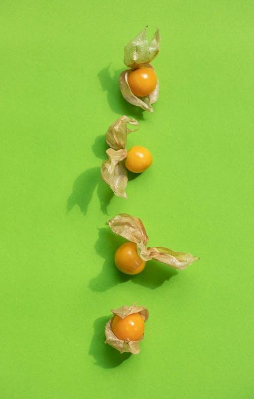 physalis peruviana, オーガニック, オーバーヘッドの無料の写真素材