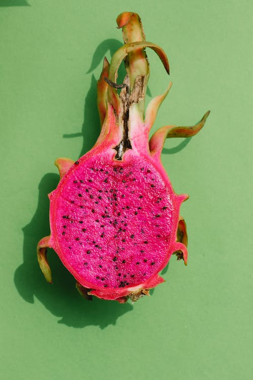 Cut half of dragon fruit