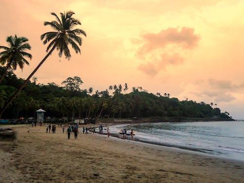 Ilmainen kuvapankkikuva tunnisteilla abstrakti tausta, Android taustakuva, auringonlaskun väri, blue beach