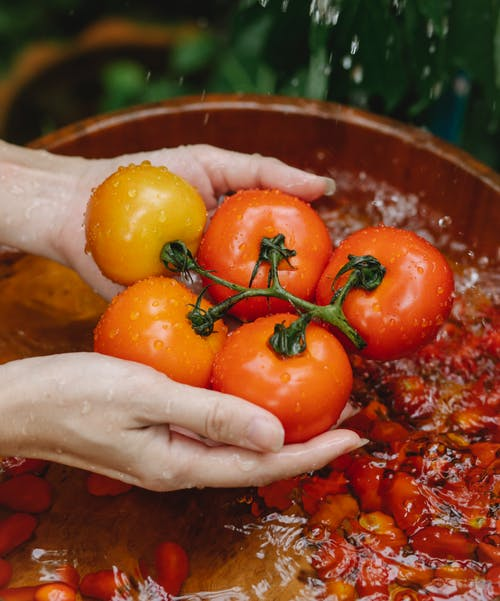 Crop faceless woman washing ripe tomatoes under water stream
