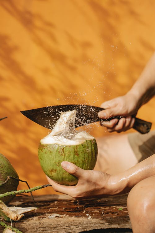 Crop person with knife and green coconut