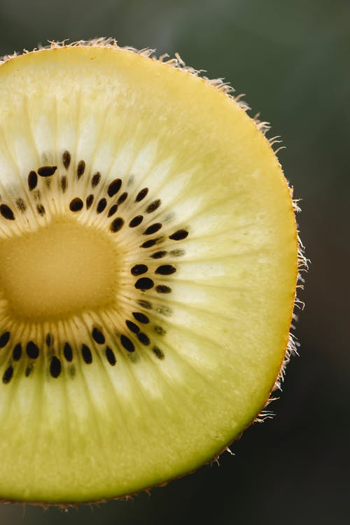 Closeup of fresh ripe cut piece of green fruit of kiwi on blurred background