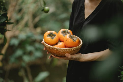 Crop faceless female in black dress with wicker bowl full of ripe fresh fruits of date plums