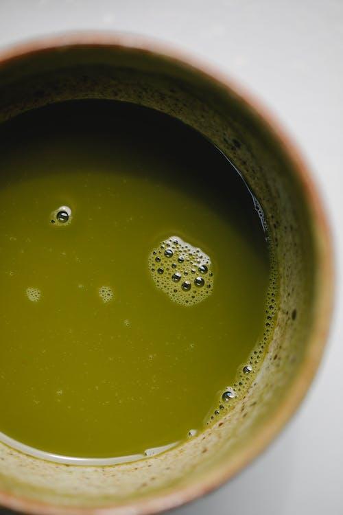 Green tea of matcha in bowl