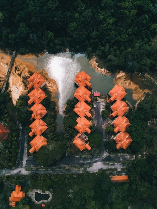 Aerial view of red roofed houses located on shore of small lake surrounded by lush tropical vegetation in countryside