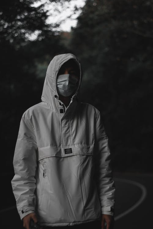 Man in Gray Zip Up Hoodie With Face Mask