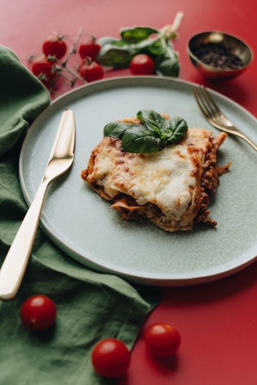 Baked Lasagna Slice on an Earthenware