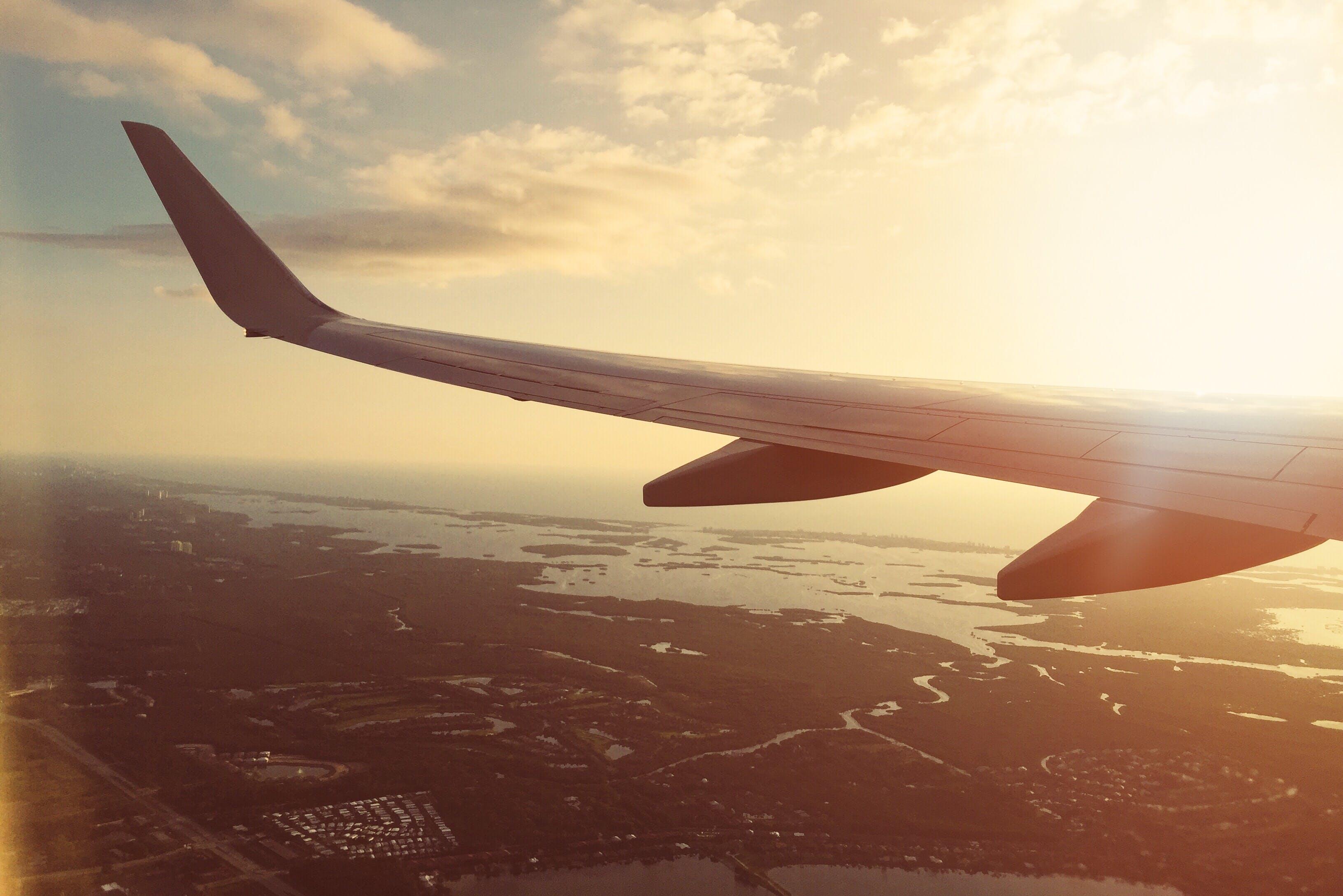 客機, 平面, 機翼, 空拍圖 的 免费素材照片