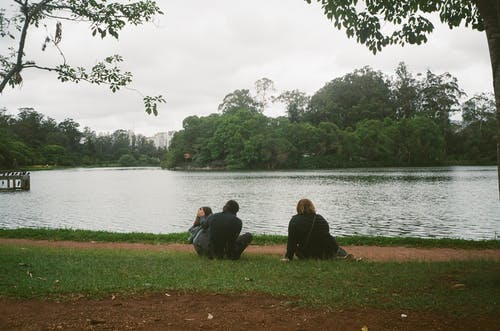 Back view of unrecognizable people enjoying picturesque scenery of lake surrounded by lush green trees