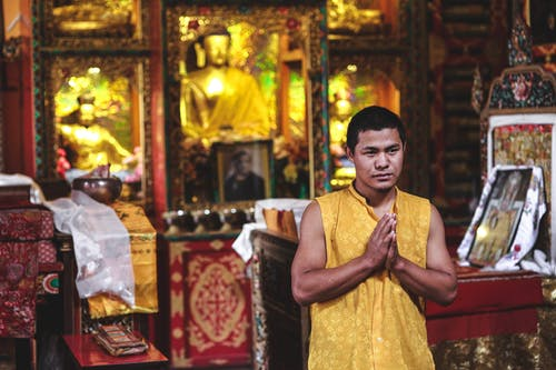 Young ethnic Buddhist monk in traditional clothes praying and looking away in aged temple near golden Buddha statues