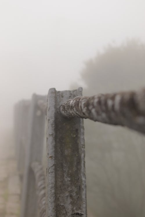 Brown Wooden Fence With White Fog