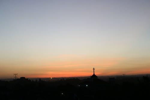 Free stock photo of sunset church cross