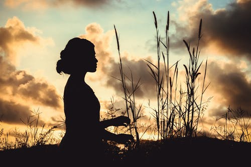 Side view silhouette of unrecognizable young female resting in field with tall growing reed against picturesque cloudy sunset sky