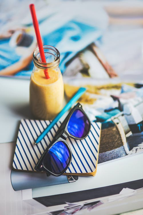 Sunglasses, yougurt, note