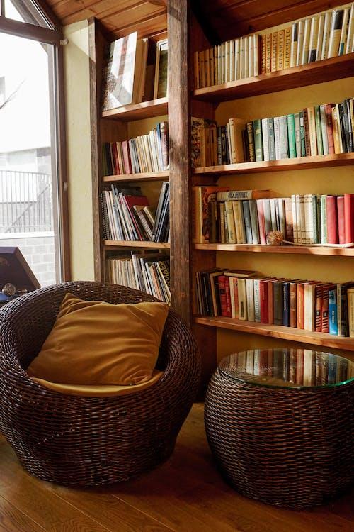 Brown Wicker Basket on Brown Wooden Shelf