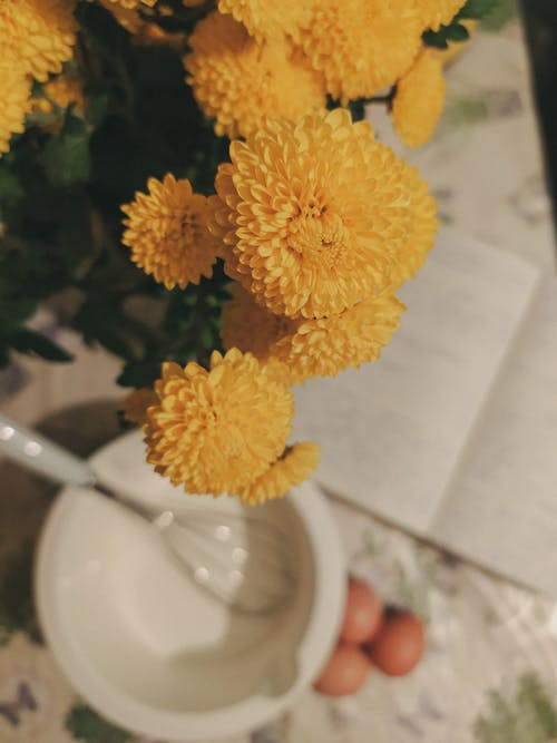 Yellow Flower Bouquet on White Table
