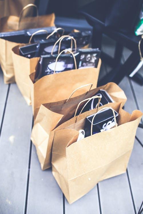 brun, förpackning, handla