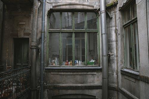 Green Wooden Framed Glass Window