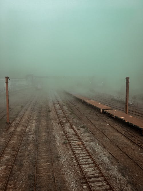 Train tracks with Fog