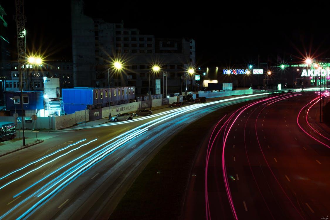 夜, 長時間露光の無料の写真素材