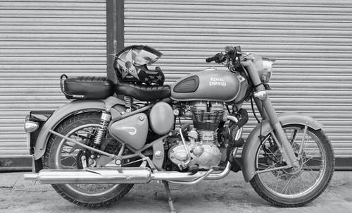 Grayscale Photo of Black and Gray Cruiser Motorcycle
