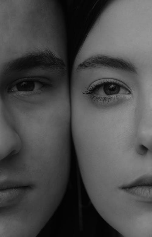 若い穏やかなカップルの顔を一緒に収穫する