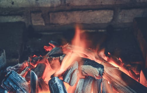 Flaming Charcoal Closeup Photography