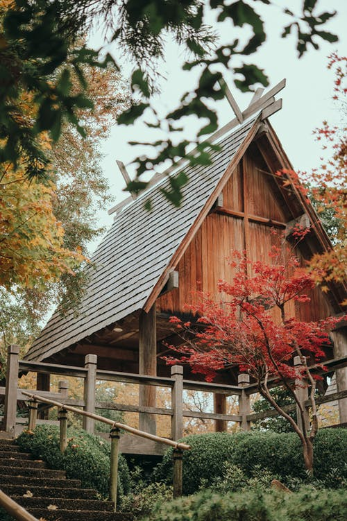 Brown Wooden House Near Green Trees