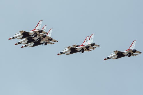 Four Fighter Planes in Mid Air