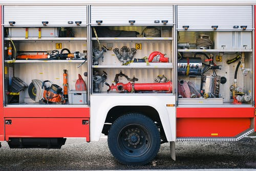 Firefighter Tools and Equipment inside a Fire Truck