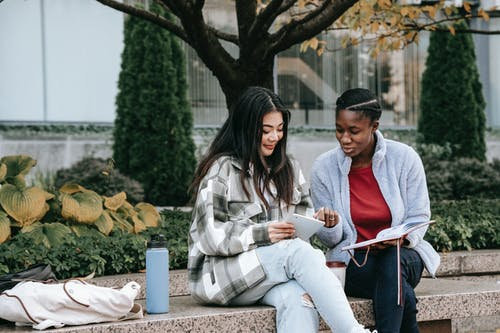 Smiling multiethnic girlfriends talking and sharing smartphone on street bench
