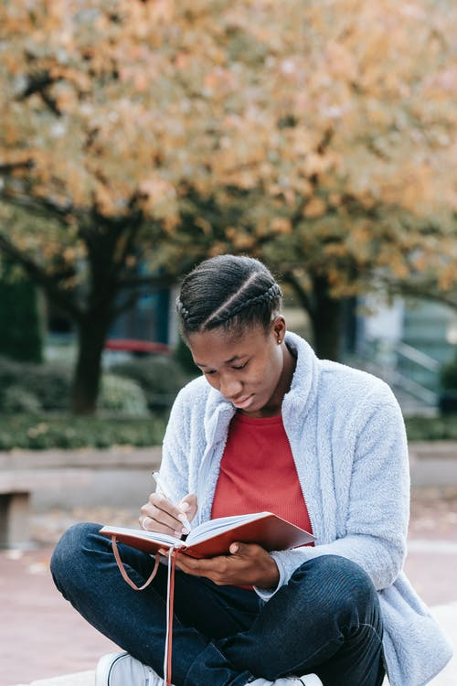 Attentive black woman with diary in urban park